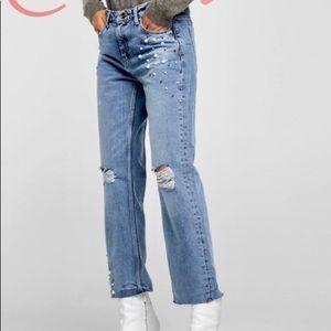 Zara Pearl Studded Jeans